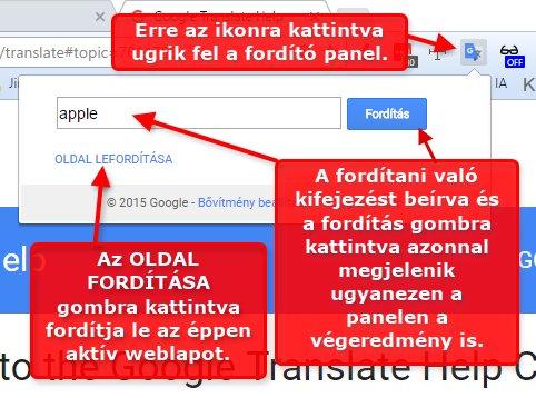 3658d7e0b9 Az OLDAL LEFORDÍTÁSA gombra kattintva az éppen látható weblapot fogja  lefordítani. Ez ugyanaz a funkció, mint amikor a Google translate weblapon  írjuk be a ...